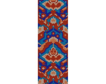 Geometric 40 Peyote Bead Pattern, Bracelet Cuff, Bookmark, Seed Beading Pattern Miyuki Delica Size 11 Beads - PDF Instant Download