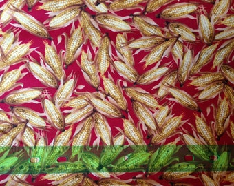 Corn fabric by the yard, autumn harvest fabric, thanksgiving fabric, indian corn, fall fabric by the yard, #1562
