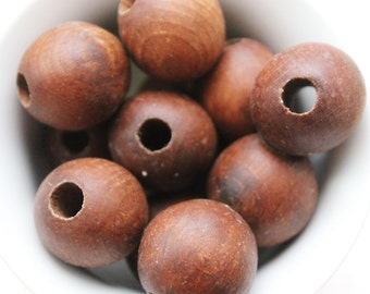 25 mm Wooden textured beads 50 pcs with big hole - 8 mm - natural, ECO-FRIENDLY beads - welded in olive oil
