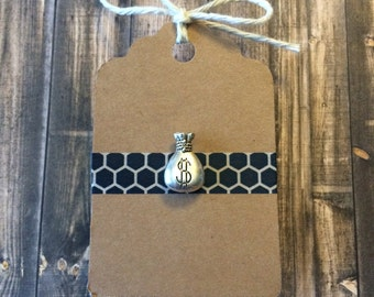 Mr. Money Bags Lapel Pin / Tie Tack - Silver Tone Metal Money Bag - Tack Backing with Clutch Clasp - Banker Gift