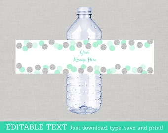 Glitter Water Bottle Labels / Glitter Baby Shower / Glitter Dots / Mint & Silver / Baby Boy / Printable INSTANT DOWNLOAD Editable PDF A125