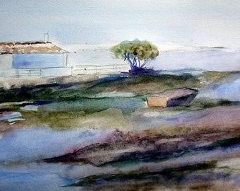watercolor landscape of Provence