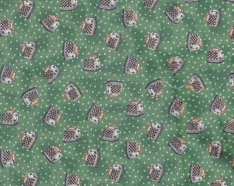 """Kitchen Print - Cotton Fabric By The Yard - Kitchen Theme Toasters 44""""x 36"""" - 4 Aprons, Quilt Piecing Curtain Yardage -  Inventory # 175"""