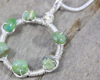 Green Opal Circle Necklace, Dainty Necklace, Silver Wire Wrapped Pendant, Natural Gemstone, Circle Aqua Green October Birthstone Jewelry