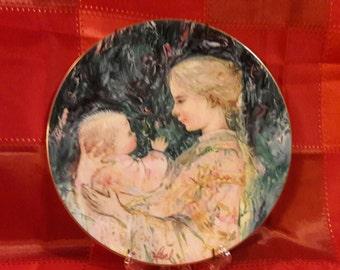 Edna Hibel - Kristina and Child Collectible Plate - Royal Doulton 1975