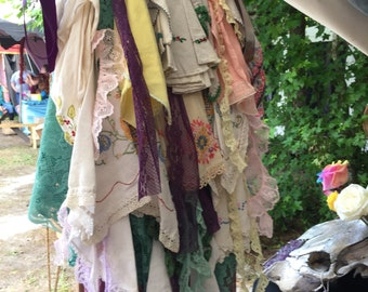 Lace hankies bustle onesize up cycled bellydance renn faire steampunk cosplay