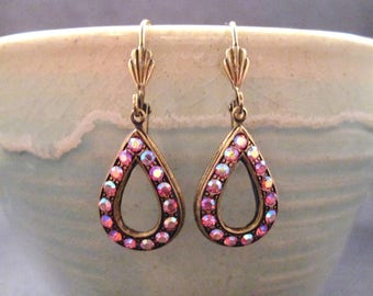 Art Deco Style Drop Earrings, Iridescent Pink Glass Stones, Brass Dangle Earrings, FREE Shipping U.S.