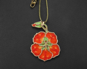Statement Nasturtium Necklace, Blossom flower pendant, Orange glass enamel, Floral bronze jewelry, Wild flower charm, Red and green enamel