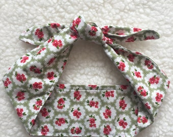 Catherine Ladies Headband Ladies Headwrap Messy Bun Headband Self Tie Headband 1950s Headband Reversible Headband Retro Headband Floral Hair