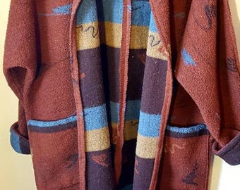 Burgundy coat with patterns