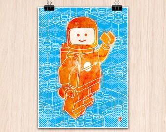 "Lego 9x12"" Hello Spaceboy with Blocks (Color Print)"