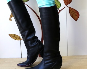 NANDO MUZI Knee High Leather Black Boots Pointed Toe Boots Size 38.5/5.5/8