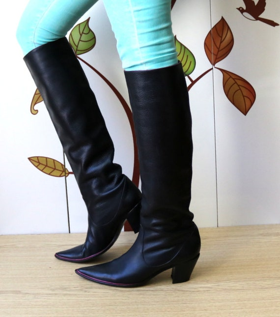Knee Size 5 8 38 Boots High NANDO 5 Black 5 MUZI Leather Pointed Toe Boots RwfqBxF5