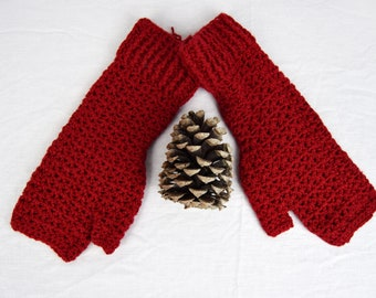 Red Crochet Handwarmers, Fingerless Mitts (M) - 6 colours available