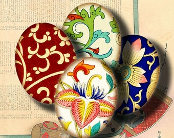 Asian Ornament (3) Digital Collage Sheet - Ovals 30x40mm or 18x25mm or other sizes available - See Promo Offer