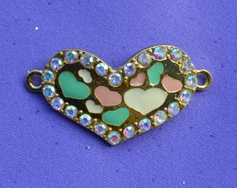 WHOLESALE : Jewelry Bracelet Spacers 90 pcs Gold Hearts with Colorful Hearts and Iridescent Crystals #3