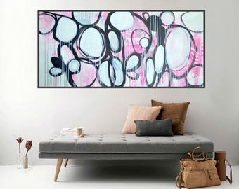 pink abstract art black and white painting textured expressionist minimal canvas artwork modern art drip ready to hang original art decor