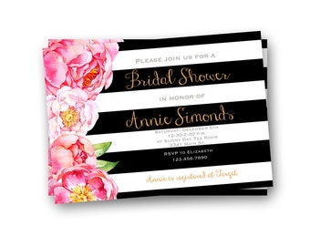 Bridal Shower Invitation, Black and Gold Wedding Shower Invitation, Printable Bridal Shower Invitation
