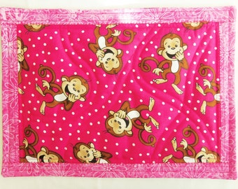 Monkey Place Mat, Quilted Snack Mat, Quilted Mug Rug, Quilted Table Topper, Monkey Quilt, Quilted Wall Decor, Sewnsewsister