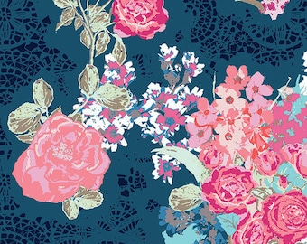 Curtain Panels or Valance - Navy Coral floral