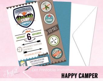 Camping Birthday Party Printable Invitation