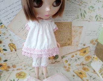blythe pajamas set clothes for pullip Neo blythe licca dal shibajuku hand made sleepwear doll clothing 1/6 scale vintage style