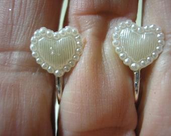 """Play Earring - Clip - Tiny Heart - White Satin - 3/8"""""""