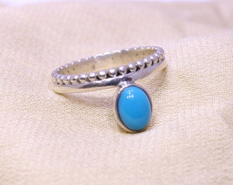 Turquoise Ring, 925 Silver Ring, Sterling Silver Ring, Oval Stone Ring, Blue Gemstone Ring, Arizona Turquoise Ring