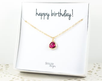 Tiny July Birthstone Gold Necklace, Ruby Gold Necklace, July Birthday Jewelry, Personalized Gold Necklace, Gifts Under 20