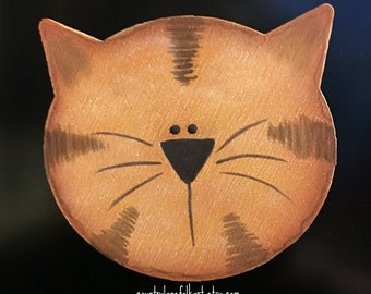 orange tabby cat, cat magnet, crazy cat lady gifts, cat lover gifts, refrigerator magnets, cute magnets, hand painted wood cat, mom gift mom