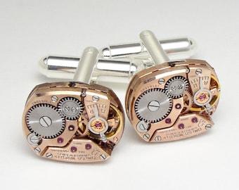 Boutons de manchette steampunk, avec des mouvements de montres Vintage Omega véritable Or Rose sur les boutons de manchette argent, idéal pour mariage ou anniversaire de mariage palefreniers cadeau
