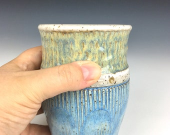 nautical ceramic cup, ceramic tumbler, wheel thrown cup, ocean pottery, ocean waves, water