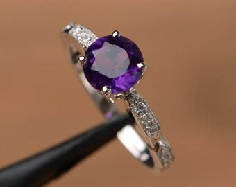 purple amethyst ring round cut engagement ring silver rings gemstone jewelry February birthstone ring