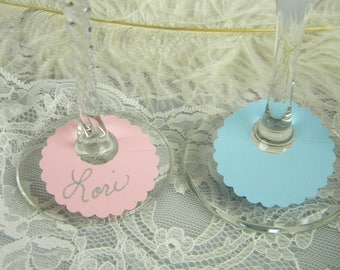 Gender Reveal Party Decoration | Paper Wine Glass Tags Charms | ID Drink Labels | Bridal Baby Showers | Disposable Tags | Pick Your Size