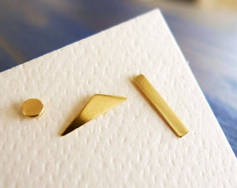 DADA. Gold Geometry. Simple Geometrical Shapes Stud. Unisex Man or Woman. One 14K Gold Earring. Recycled Handmade Mix and Match Earrings.
