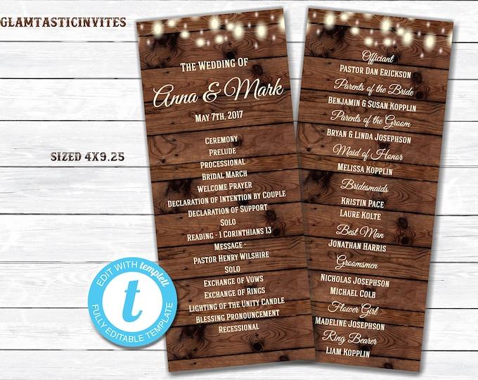 Rustic Wedding Program, Wedding Program, Rustic Card, Rustic Wedding, Digital Card, Printable Card, String Lights, Rustic, INSTANT DOWNLOAD