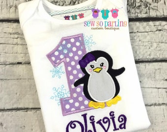 Baby girl purple penguin birthday Outfit - 1st Birthday penguin Shirt - Penguin Birthday outfit - Baby Girl Penguin Birthday