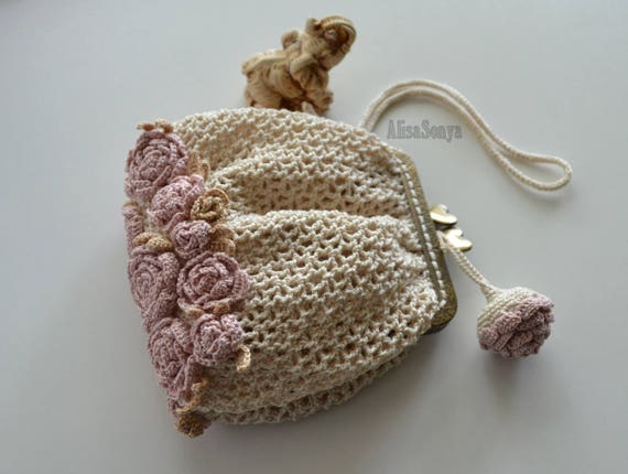 Crochet Small evening bag Brides bag Boho pouch bag Birthday