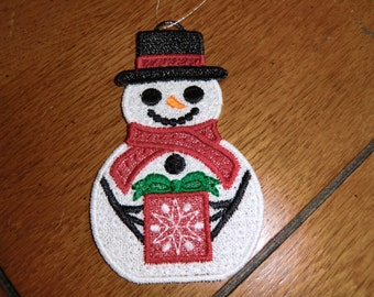 Embroidered Ornament - Christmas - Snowman - Small