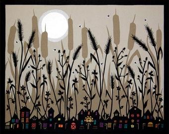 Twinkling Lights - 11 x 14 inch Cut Paper Art Print