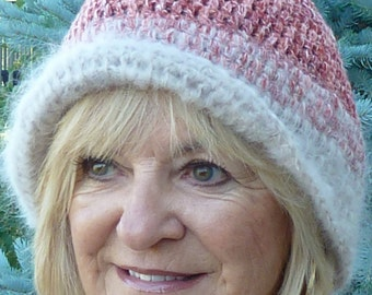 Women's winter hat, cute, quality handmade and chic, original crochet hat, versatile style in reds and almond, comfortable for all day wear