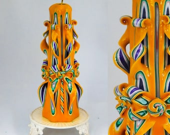 Christmas gift, carved candles, Christmas candle, Yellow candle