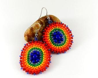 Round earrings Rainbow jewelry Colorful jewelry Beaded earrings Hippie style lgbt Geometric earrings Bright earrings lesbian Mandala lewelry