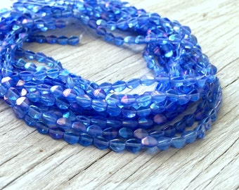 Glass bicone beads, Czech glass pinch beads blue sapphire with luster coating 50