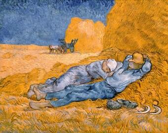 Vincent van Gogh 1890, Noon Rest From Work, HD Canvas Print or Art Print, Artwork Wall Poster Impressionism Print on Canvas Van Gogh Corn