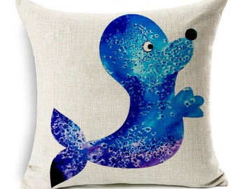 Blue seal sea lion cub smiling marine animal nautical cute funny square linen cushion pillow cover