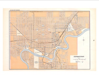 "Edmonton Alberta in 1915 by the Atlas of Canada 22x16"" Reproduction"