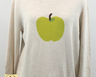 Off White Cotton/Rayon Mix Sweater with large apple design on front. Spring sweater, unique sweater, cute sweater, fun sweater.
