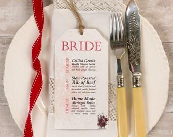 Botanical Red Flower Wedding Menu Cards (set of 25) plus free twine