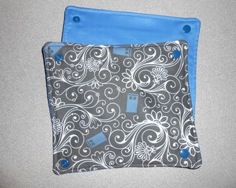 Black Tardis Swirls Soft Structured Carrier Strap Pads